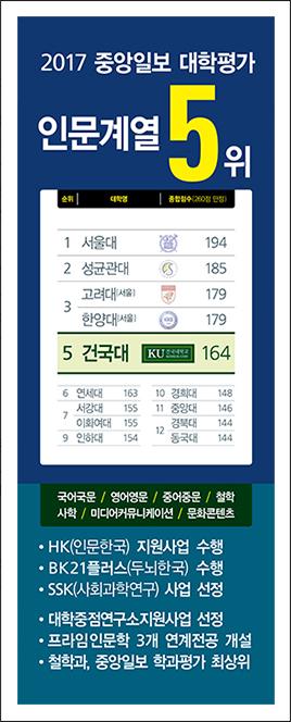 2017 중앙일보 대학평가 인문계열 5위